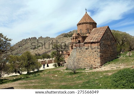 The Armenian Cathedral Church of the Holy Cross in Akdamar Island in Van Lake, Turkey - stock photo
