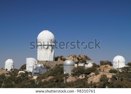 The array of telescopes at Kitt Peak National Observatory near Tucson, Arizona. - stock photo