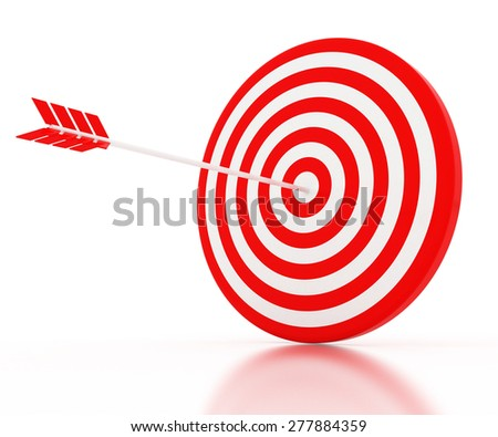 The arrow hit the target, the red-and-white composition