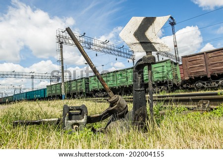 the arrow on the  rail, Russia - stock photo