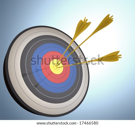 The arrows hits the target. Concept of success and achievement.