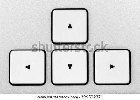 The arrows on the keyboard - stock photo