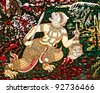 The Art of hanuman painting on wall. This is traditional and generic style in Thailand. No any trademark or restrict matter in this photo. - stock photo
