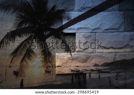 The art of painting Koh Tao seascape, Thailand background - stock photo