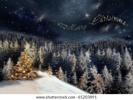 The art picture with night forest, christmas tree in yellow light and star text on sky background