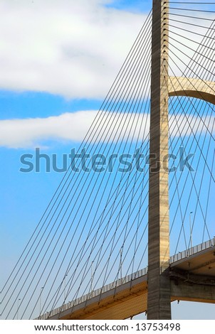 The artfully designed tower of a suspension bridge