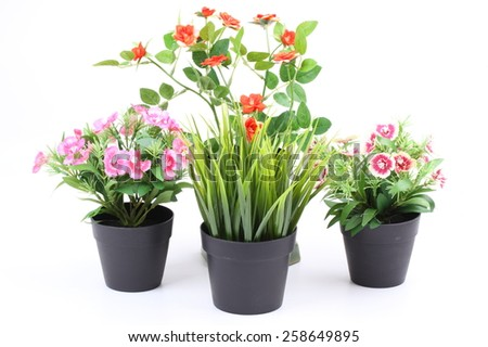 The artificial flower in the pot on white background
