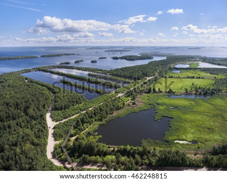 The artificial reservoir for water treatment near the lake Vyg, Segezha, Karelia. Aerial view