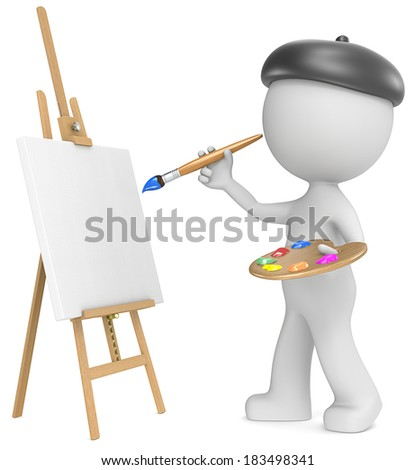 The Artist. Dude the Artist painting. Holding brush and palette. 3D little human character. Side view. - stock photo