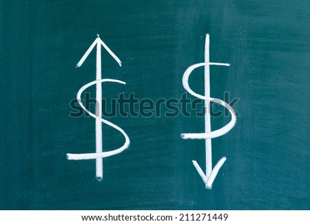 The ascending and descending of the dollar - stock photo
