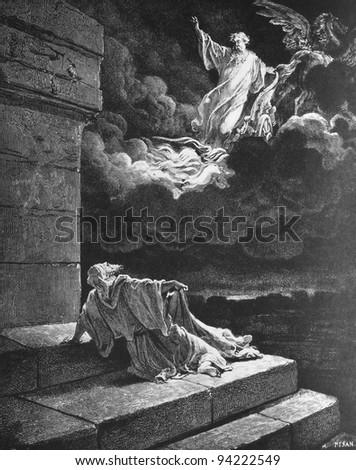The Ascension of Elijah. 1) Le Sainte Bible: Traduction nouvelle selon la Vulgate par Mm. J.-J. Bourasse et P. Janvier. Tours: Alfred Mame et Fils. 2) 1866 3) France 4) Gustave Doré - stock photo