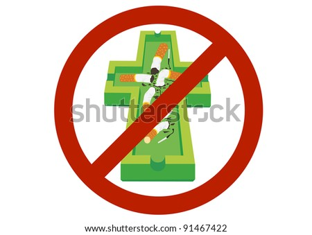The ashtray and cigarette for the prohibitory sign. - stock photo
