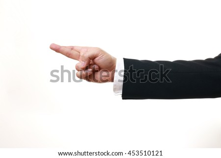 The Asian businessman's hand on the white background.