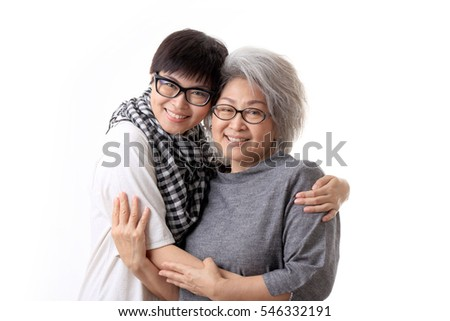 The Asian daughter and mother on the white background.