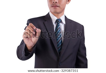 The Asian successful business man will write his signature, on white background. - stock photo