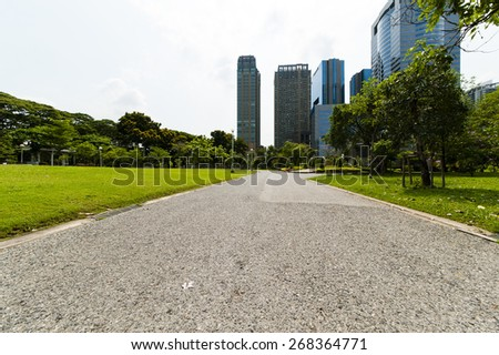 The asphalt road at Thailand - stock photo
