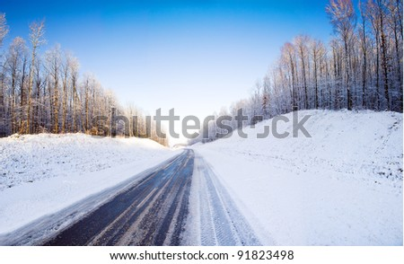 The asphalted road to a winter season. Near the road grows on a height wood. The photo is made of several - stock photo