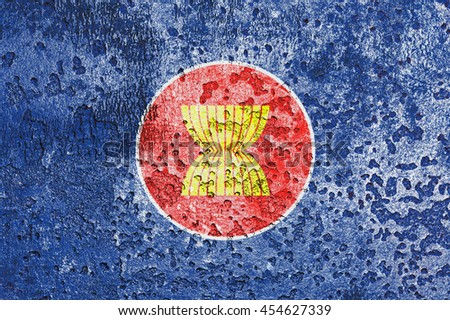 The Association of South East Asian Nations flag painted on grunge metal - stock photo