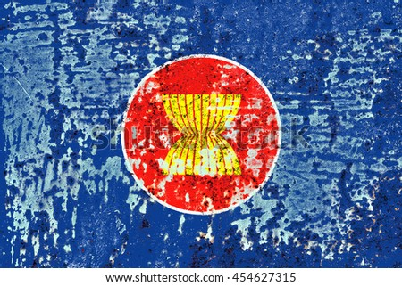 The Association of SouthEast Asian Nations flag painted on grunge metal - stock photo