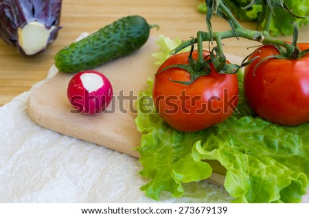 The assortment of bright ripe vegetables - stock photo