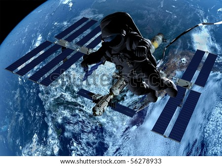 The astronaut and the spacecraft in outer space - stock photo