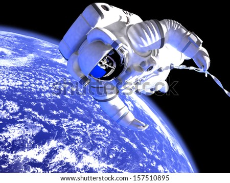 The astronaut in outer space against globe - stock photo