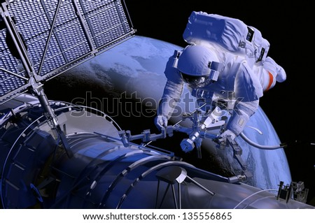 Astronaut in outer space elements of this image furnished by nasa