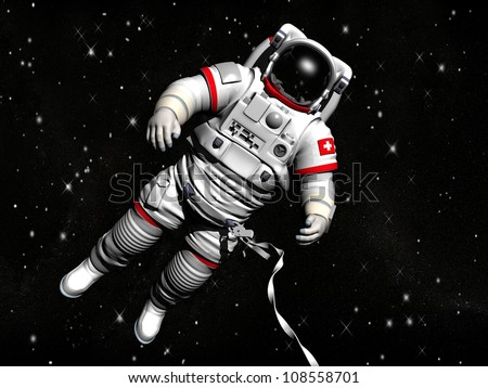 The astronaut on in an outer space against stars stock photo for Jobs in outer space