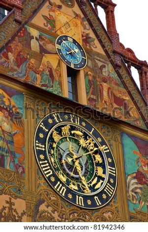 The Astronomical Clock at City Hall in Ulm - stock photo