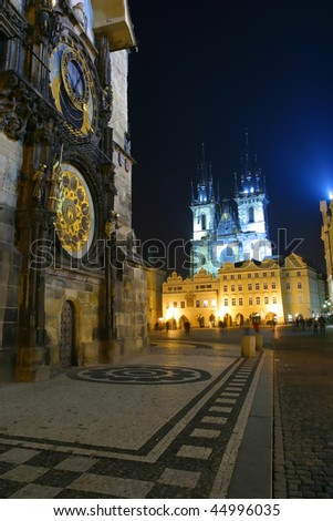 The Astronomical Clock at night old town Prague.
