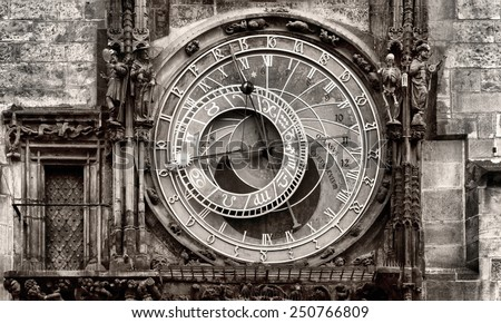 The Astronomical Clock at Old City Hall at the Market Square in Prague, Czech Republc - stock photo