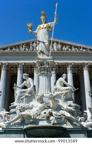 The Athena Fountain in front of the Austrian Parliament in Vienna