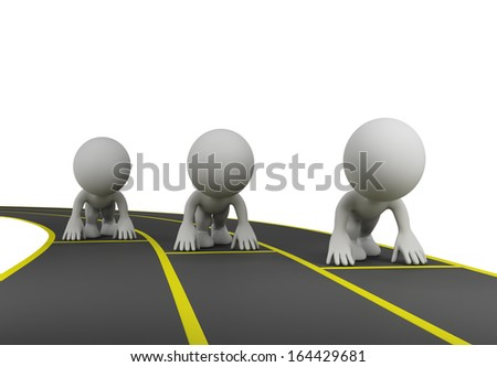 The athletes will start on the treadmill. 3d image. White background. - stock photo