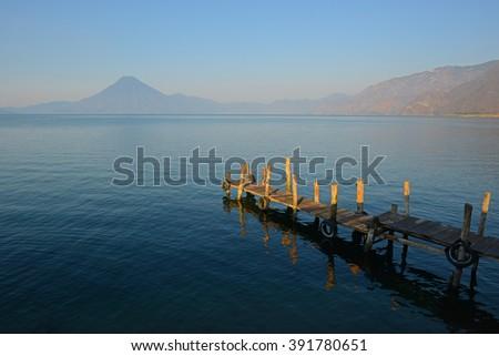 The Atitlan lake at sunrise, Guatemala.  - stock photo