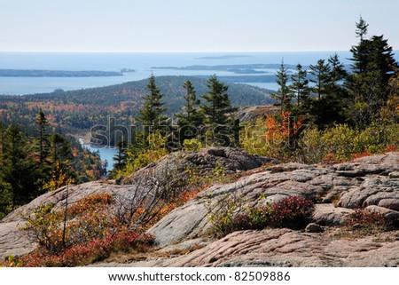 The Atlantic Ocean Seen From Cadillac Mountain, Acadia National Park, Maine, USA - stock photo