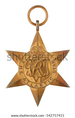 The Atlantic Star Second World War Medal without ribbon isolated on white with clipping path