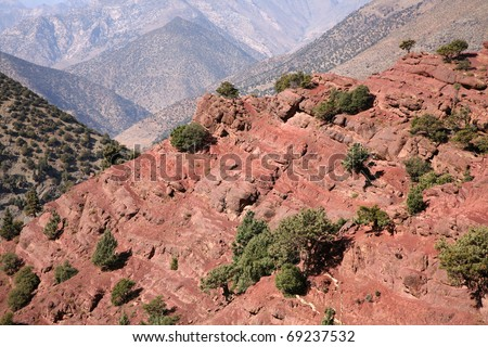 The Atlas Mountains in Morocco. - stock photo