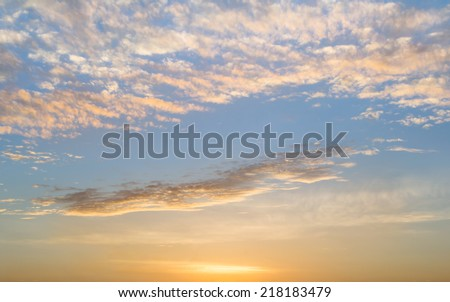 The atmosphere cloudy sky at sunrise - stock photo