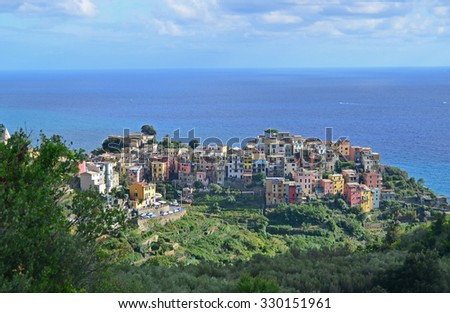 the attractive and popular village of Corniglia, in the Cinque Terre on Italy's Ligurian coast - stock photo