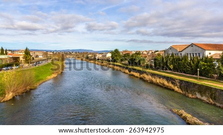 The Aude river in Carcassonne - France - stock photo
