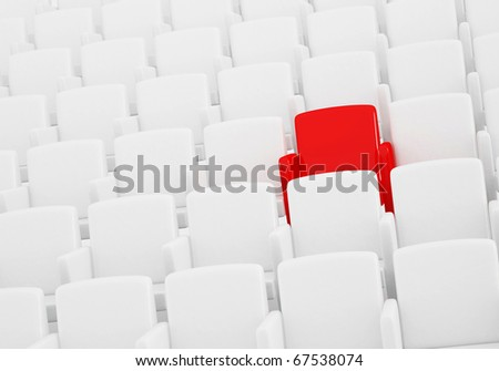 the auditorium with one reserved seat - stock photo
