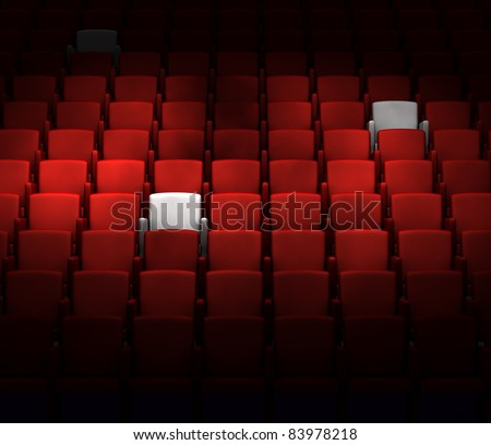 the auditorium with reserved seats - stock photo