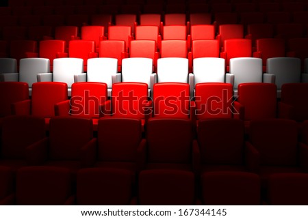 the auditorium with white reserved row - stock photo