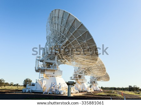 The Australia Telescope Compact Array  is an array of six 22-m antennas used for radio astronomy. It is located about 25 km west of the town of Narrabri in rural NSW  - stock photo