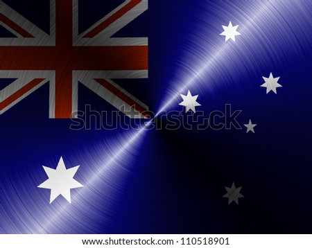 The Australian flag painted on brushed metall - stock photo