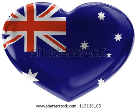 The Australian flag painted on  3d heart symbol on white background