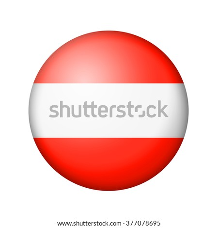 The Austrian flag. Round matte icon. Isolated on white background.