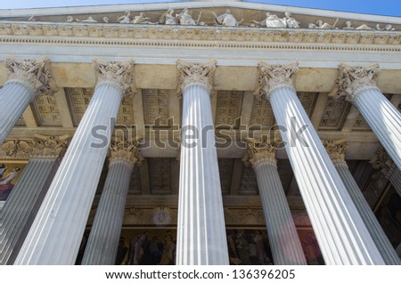 The Austrian Parliament Building  is where the two houses of the Parliament of Austria conduct their sessions. - stock photo