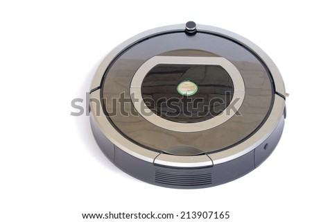 The automated robot vacuum cleaner of a roundish form, can make cleaning in hard-to-reach spots. It is presented on a white background. - stock photo