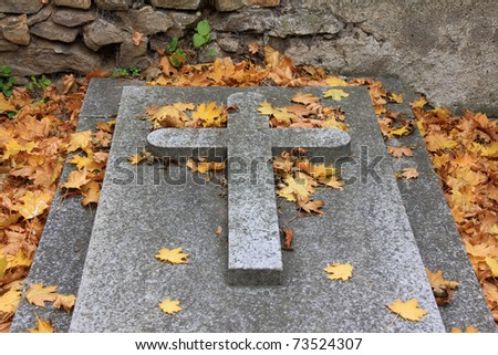 The autumn Tomb on the old Prague Cemetery, Czech Republic - stock photo